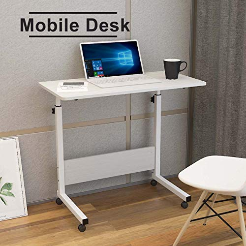 Mobile Desk Height Adjustable Laptop Table Movable Computer Desk for Small Space Computer Workstations for Home Office (80 cm x 40 cm, White)