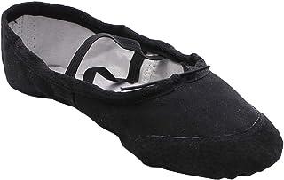staychicfashion Womens Canvas Ballet Slippers Practice Yoga Flat Shoes Split Belly Shoes(5, Black/Black)
