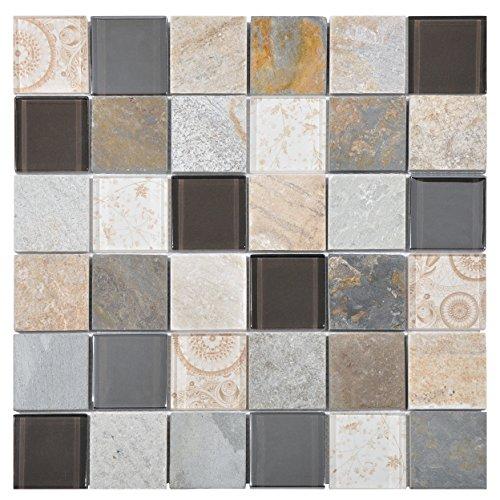 Mosaico de Vidrio y Mármol en Malla DEC-47082ATO002, Beige, 8 mm, 30 x 30 cm