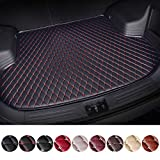 Customized Trunk Mat Floor Mat for Maserati GranTurismo Quattroporte Levante Car Flat Coverage All Weather Trunk Protection Waterproof Cargo Mat Leather Liner Set Black & Red