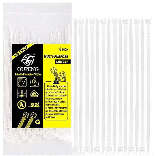 Multi-Purpose Nylon Zip Ties - (100 Piece) 8 Inch Self Locking Cable Ties. White