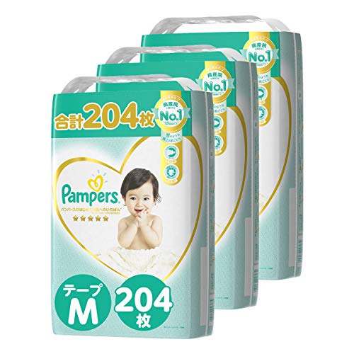 【テープ Mサイズ】パンパース オムツ はじめての肌へのいちばん (6~11kg) 204枚(68枚×3パック) [ケース品] 【Amazon限定品】