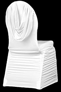 Swag Back Ruched Spandex Banquet Chair Cover - White