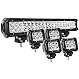 Nilight - ZH003 20Inch 126W Spot Flood Combo Led Light Bar 4PCS 4Inch 18W Spot LED Pods Fo...