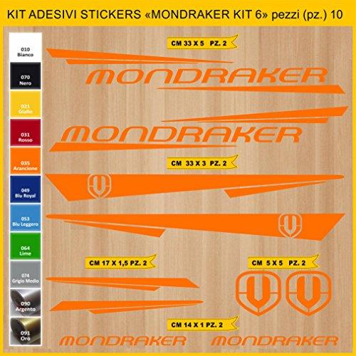 Pimastickerslab Aufkleber Fahrrad MONDRAKER - KIT6 Kit Aufkleber Stickers 10 Stück – bici Bike Cycle wählbar Cod.0886 (035 ARANCIONE)