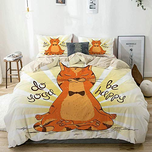 Juego de funda nórdica beige, gato divertido haciendo yoga sabio sabio humor animal vida mental diversión, juego de cama decorativo de 3 piezas con 2 fundas de almohada fácil cuidado antialérgico suav