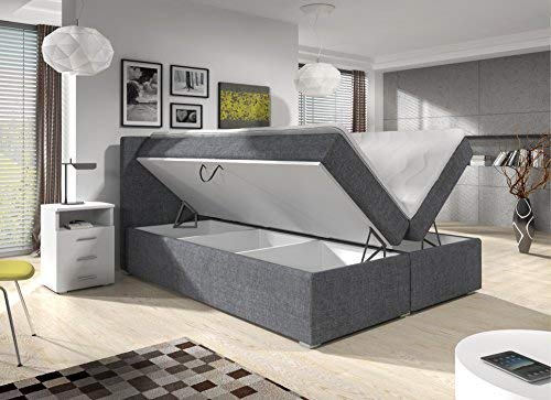 Wohnen-Luxus Boxspringbett 180x200 Bettkasten Grau Stoff Hotelbett Polsterbett Matratze Modell Roma Lift
