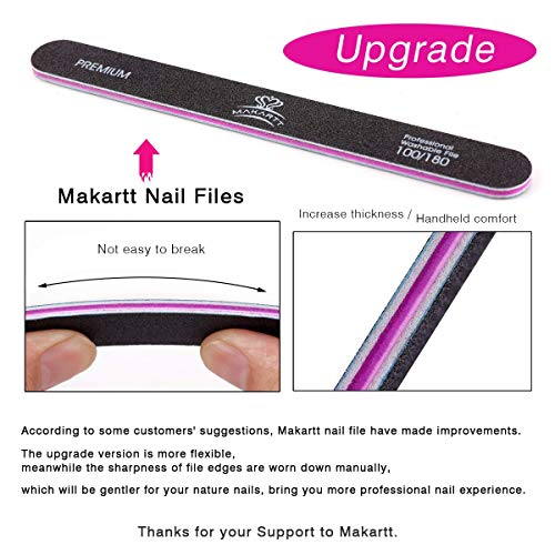 MAKARTT Professional Nail Files 100 180 Grit for Poly Nail Gel Double Sided Black Washable 10 Nail File Set F-01