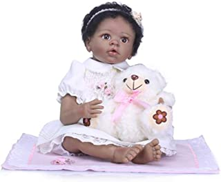Zero Pam Biracial Reborn Ethnic Baby Dolls Black Curly Hair African American Girl 22 inch 55cm Cute Realistic Baby Black Skin Lifelike Kids Toys(with Clothes, Bottle Nipple Set ,Bear)