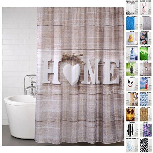 Duschvorhang Home 180 x 200 cm, hochwertige Qualität, 100prozent Polyester, wasserdicht, Anti-Schimmel-Effekt, inkl. 12 Duschvorhangringe