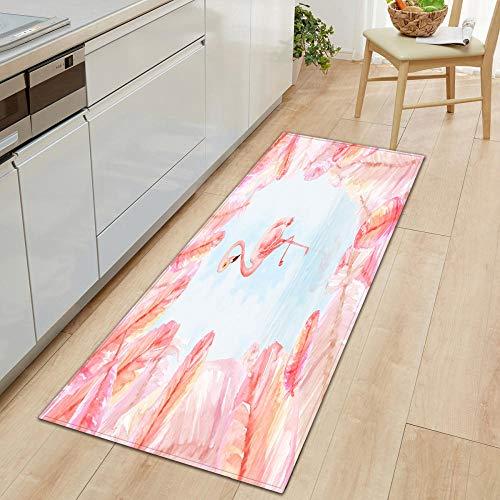 XIAOZHANG Tappetini da Cucina Tessuto Flanella Animale Gru Rosa Lunghi Tappetino Antiscivolo Tappetino Assorbente da Cucina Prova di Olio Tappeto Resistente 60X90Cm