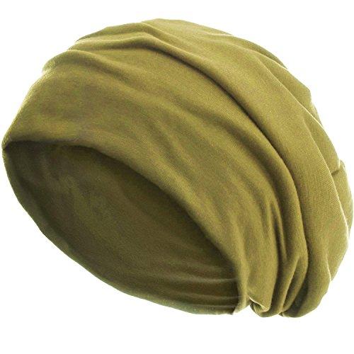 style3 Slouch Beanie aus atmungsaktivem, feinem und leichten Jersey Unisex Mütze Haube Bini Einheitsgröße, Farbe:Senf