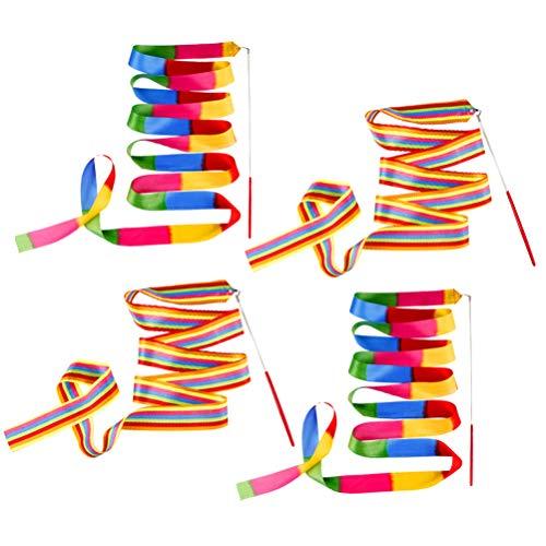 LIOOBO 4 Piezas Cinta Gimnasia Arte rítmico Colorido ejecutando Correas accesorias Serpentina con Palo para Entrenamiento Deportivo Baile 4 m