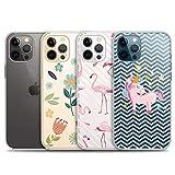 iPhone 12 用 ケース、iPhone12 pro用4パッククリアケース、透明で柔らかいTPU電話ケース、滑り止め、美しいiPhone12/12pro用の新年の可愛いケース〔6.1インチ〕〔タイプA〕