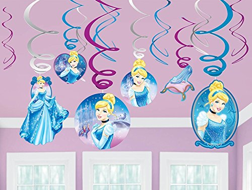 Disney Cinderella Decorative Foil Hanging Swirls Birthday Party Decoration (12 Pack), Multi Color.