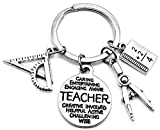 Math Teacher Keychain, Mathematics Teacher Keychain, Teacher Keychain, Architect, Architectural Engineer Teacher, Geometry, Compass, Math Book, Math Ruler, Teacher Gift, Math Teacher Key Ring -  Kit's Kiss