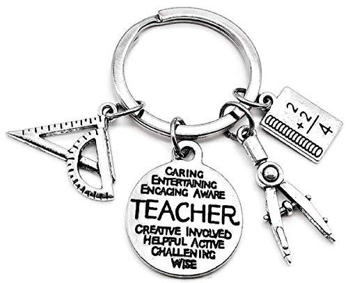 Math Teacher Keychain, Mathematics Teacher Keychain, Teacher Keychain, Architect, Architectural Engineer Teacher, Geometry, Compass, Math Book, Math Ruler, Teacher Gift, Math Teacher Key Ring