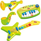 Liberty Imports 4-in-1 Musical Band Toy Instruments Playset for Kids - Keyboard, Guitar, Saxophone and Trumpet with Volume Control