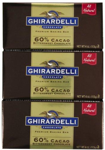 Ghirardelli Bitter Sweet Baking Bar, 60% Cacao, 4 oz, 3 pk