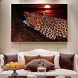 QWESFX Leopard Modern Canvas Art Pinturas en la Pared Animales Abstractos Leopard Posters Láminas artísticas Cuadros para Sala de Estar (Imprimir sin Marco) A2 40x80CM