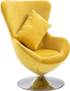 vidaXL Silla giratoria en forma de huevo con cojín, tapizada, terciopelo amarillo