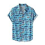 Camisas,Camisa Británica De Verano De Tiro Real, Cárdigan con Estampado Digital De Peces Masculinos, Camisa Casual De Manga Corta con Solapa, Pescado Azul, M