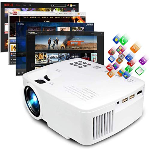 Smart LED Video Projector by Sinometics, Android WiFi Bluetooth Home TV Theater, 220 ANSI Lumen, Support 1080P Full HD, Updated Quieter Fan, Mini Video Beam for Multimedia Party Games - White