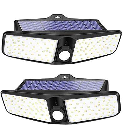 VOSONX Outdoor Solar Lights - 80 LEDs Light, Wireless Solar Powered Motion Sensor Lights - IP65 Waterproof Security Lights - 270° Wide Angle Wall Lights for Deck, Front Door, Yard, Garage (2 Pack)