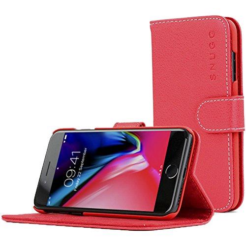 Snugg - Custodia a portafoglio in pelle per iPhone 7/8, con scomparti per carte di credito, colore: Rosso