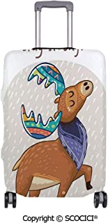 SCOCICI Anti-scratch Baggage Luggage Cover Protector Deer with Scarf and Rainbow Retro Antler Horns Quote Stay Strong Rain Design Bohem Multi-function Travel Suitcase Cover (Cover ONLY, Suitcase NOT