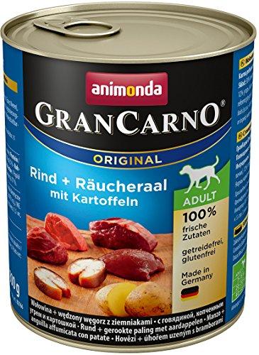 animonda Gran Carno adult Hundefutter, Nassfutter für erwachsene Hunde, Rind + Räucheraal mit Kartoffeln, 6 x 800 g