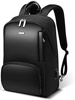 Anti-Theft Business Backpack 15 Inch Laptop Water-Resistant with USB Port Charging Mens Leather Travel Backpack