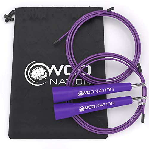 WOD Nation Speed Jump Rope - Blazing Fast Rope for Endurance training for Sports like Boxing, MMA, Martial Arts or Just Staying Fit - Fully Adjustable to Fit Men, Women and Children - PURPLE