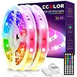 ECOLOR LED Strip Lights, 32.8ft 5050 RGB Led Lights with IR Remote Control, Multiple Colors and DIY Modes, Color Changing LED Lights for Bedroom, Living Room, Kitchen