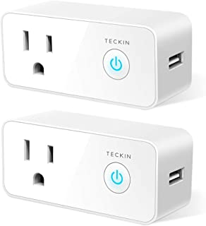 TECKIN Smart Plug Wifi Outlet USB mini Socket Compatible with Alexa, Google Home& IFTTT, Schedule Timer Function Control Electric Allliances Devices, Prevent Overcharging (2 Pack)