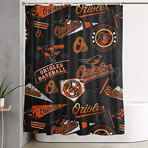 Fremont Die Baltimore Orioles Fabric Shower Curtains for Bathroom Waterproof Cloth Bath Curtain with 12 Hooks Decorative Bathroom Curtain 59 X 70 in