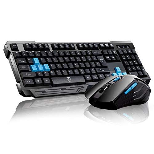 UrChoiceLtd® Delog V60 Multimedia Ergonomische usb Kabellos Spiel tastatur + 2,4 GHz 1000 / 1600DPI 6 Tasten USB Schnurlos Spiel Maus-Set Gaming Mouse Keyboard