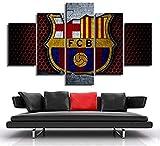 LSDAMN Pinturas en Lienzo Arte de la Pared Barcelona Fútbol Club Bandera Logo Posters 5 Piezas HD Impresiones Imágenes Niños Dormitorio Decoración Imagen Deportiva