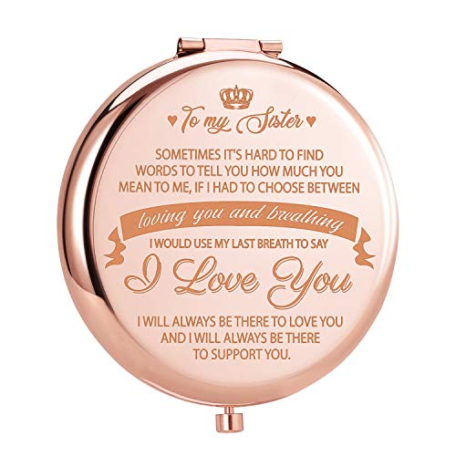 ElegantPark Sister Gifts from Sister Brother Best Friend Birthday Gifts Rose Gold Engraved Compact Mirror for Purse Christmas Graduation Gifts for Sister Personal Pocket Travel Makeup Mirror
