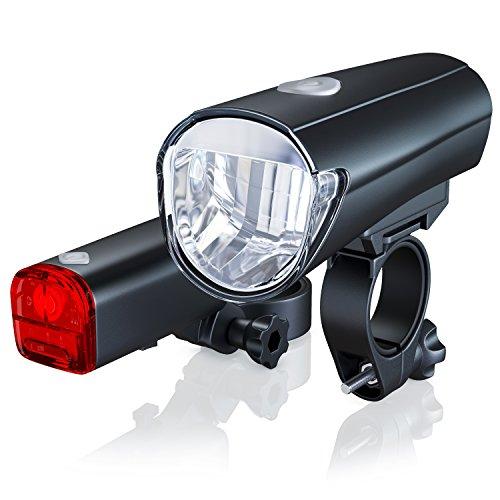 CSL-Computer Fahrradbeleuchtung Set StVZO - StVZO zugelassen - LED Fahrradlampe Fahrradlicht Set