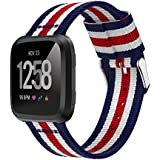 XIHAMA Band compatible with Fitbit Versa 2, Woven Nylon Replacement Strap for Fitbit Versa/Versa Lite Smart watch (Blue & White & Red & White)