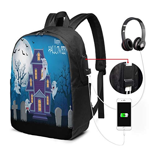 Reise-Laptop-Multifunktions-Reisetaschen, Canvas-Schulter-Daypack-Rucksack Mit USB-Ladeanschluss Und Kopfhörerloch Für Teenager Mädchen Jungen -Spukhaus und Geist mit Halloween