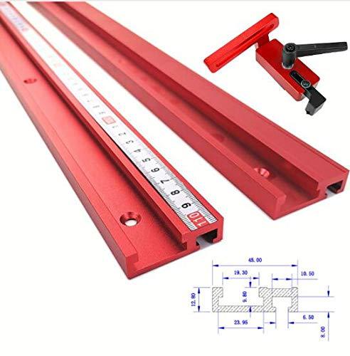 TQ Rutsche Aluminiumlegierung T-Schienen Modell 45 T-Nut und Standard-Gehrungsstopp-Holzbearbeitungswerkzeug für Werkbank-Frästisch,400mm
