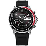 Citizen CZ Smart Grey Plated Silicone Strap Stainless Steel Smartwatch Touchscreen, Heartrate, GPS, Speaker, Bluetooth, Notifications, iPhone and Android Compatible, Powered by Google Wear OS