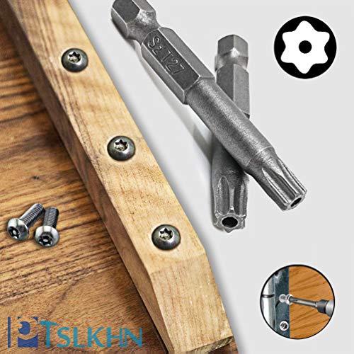 Torx Screwdriver Bit Set, PTSLKHN S2 Steel Magnetic Security Tamper Proof Star 6 Point Screw Driver Kit Tools, 12PCS 1/4