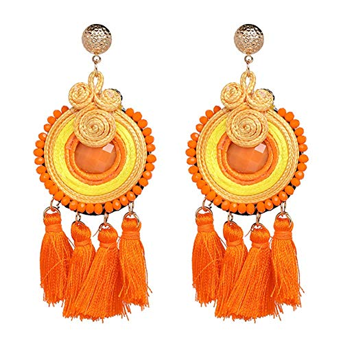 Jewelry Bohemian Multicolor Rice Beads Round Long Tassel Drop Statement Stud Earrings Women Jewelry,Colour Name:Green (Color : Orange)