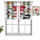 Hiiiman Cortinas pequeñas para ventana, decoración del hogar, exóticos peces tropicales de acuario, juego de 2, 42 x 24 pulgadas para cocina, comedor, habitación de niñas, filtro de luz