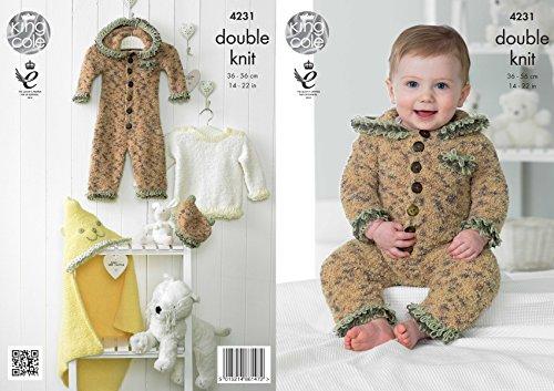 Koning Cole Knuffels DK Dubbele Breien Patroon Baby Kleding Set - Onesie Sweater Deken & Hoed (4231)