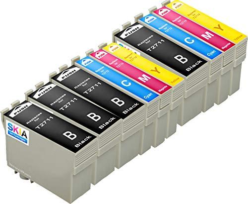Skia Ink Cartridges – Cartucho de tinta refabricado para usar en lugar de Epson 27XL (Negro/ Cian/ Magenta/ Amarillo pack de 10)