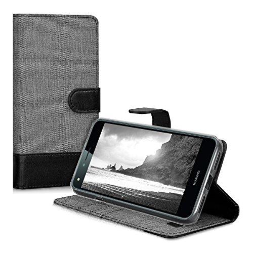 kwmobile Huawei Y6 II Compact (2016) Hülle - Kunstleder Wallet Case für Huawei Y6 II Compact (2016) mit Kartenfächern und Stand - Grau Schwarz - 5